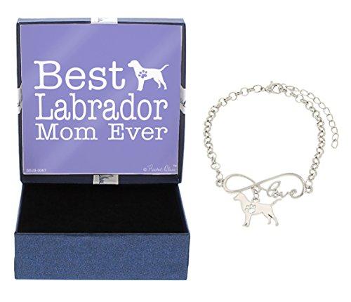 (Best Labrador Mom Ever Love Infinity Charm Labrador Lab Bracelet Gift Silhouette Charm Bracelet Silver-Tone Bracelet Gift Labrador Retriever Owner Jewelry Box)
