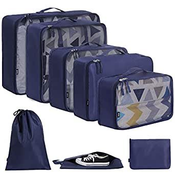 BAGAIL 8-Pcs Luggage Packing Organizers Packing Cubes for Travel Accessories(Navy)