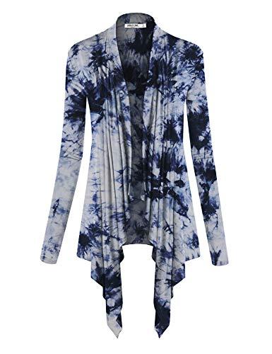 Tie Dye Camisole - WSK1072 Womens Off-Duty Open Front Tie Dye Cardigan XXXL White_Navy