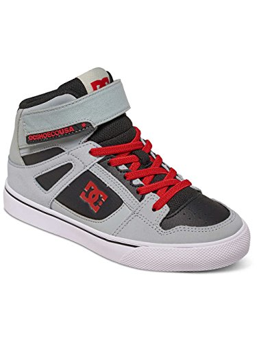 Dc Shoes Spartan Hi EV - Zapatillas Altas para Chicos, Color: GREY/BLACK/RED, Talla: 34.5 EU (3.5 US / 2.5 UK) (Niños/Kids) GREY/BLACK/RED