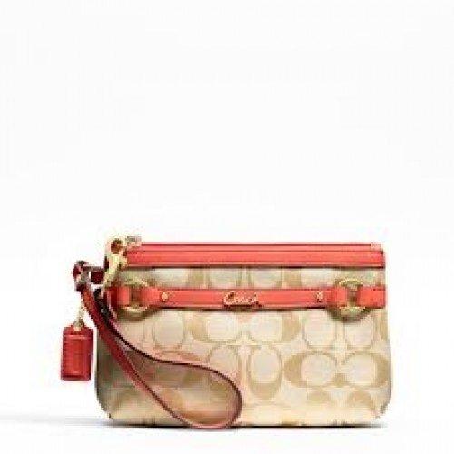 Amazon.com  Coach Medium Wristlet - Gallery (Khaki Signature Fabric with  Orange Trim F48383)  Beauty 248ecb53984e6