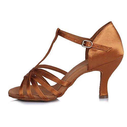 65mm souples de YFF latine Mesdames haut danse Bal femmes Les Chaussures des semelles Tango Fine Satin Brown talon nHZrZTXw