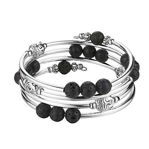 Agate Black Silver Bracelet (Pearl&Club Beaded Chakra Bangle Turquoise Bracelet - Fashion Jewelry Wrap Bracelet with Thick Silver Metal and Mala Beads, Birthday Gifts for Women (Lava Bead))