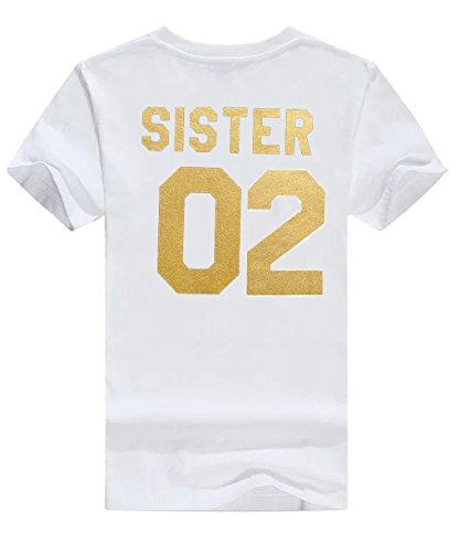 Bianca Estive Magliette Sister Casuale Tee Friend Shirt Donna Minetom Oro 01 Manica T Stampa 02 Best Tops Cime 02 Moda Corta Tunica OXgSxHgqw