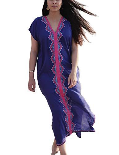 Women Long Maxi Cover Ups Navy Swimsuit Turkish Floral Embroideried Boho Kaftan Beach Dress (19067)