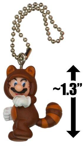 "Raccoon Mario ~1.3"" Mini Figure Charm: Super Mario 3D Land Dangler Series"