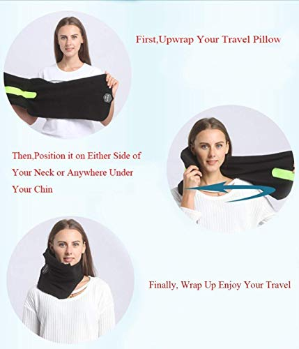 JZDZ Neck Support Travel Airplane Pillow with Adjustable Strap,Travel Pillow Scientifically Proven Supper Soft Fleece Cover for Unisex Men Women Kids,Gray by JZDZ (Image #4)