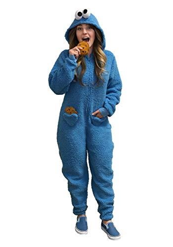 Women's Cookie Monster Pajama Costume Medium -