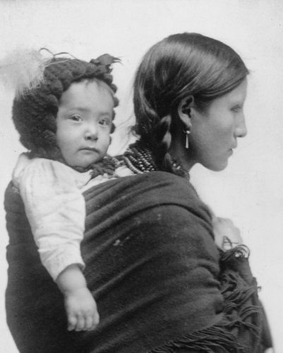 Historic Photos 1901 Photo Native American Woman from Plains Region, Half-Length Portrait, Facing Right, with Baby on her Back/Beach, N.Y. 8x10 Photograph - Ready to Frame