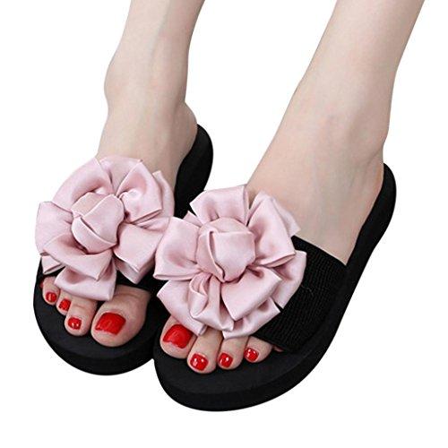 Omiky® Mode Frauen-Blumen-Sommer-Sandelholz-Pantoffel Innenim Freienflipflops Strand-Schuhe Rosa