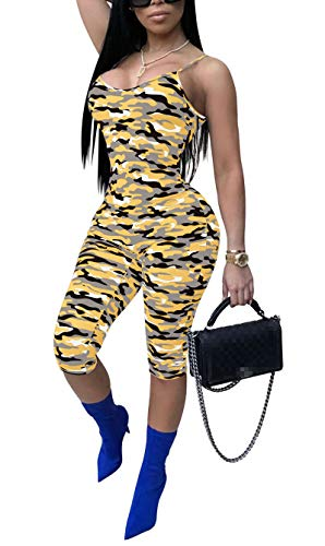 - Ophestin Womens Geometric Print Sleeveless Cropped Jumpsuit Bodycon Casual Rompers Orange Size S