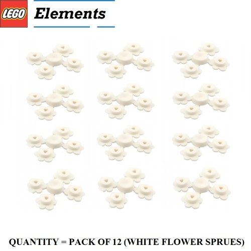 Office Cottage Modular (Lego Parts: Plant Flower Small, Sprue of Four (PACK of 12 White Flower Sprues))