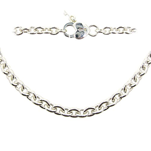 Sterling Silver Plated Chain Necklace-Bracelet, Anklet - 5x4mm Oval Cable, Heavy, Strong Chain- All Sizes (20 inches (necklace)) 4mm Sterling Silver Cable