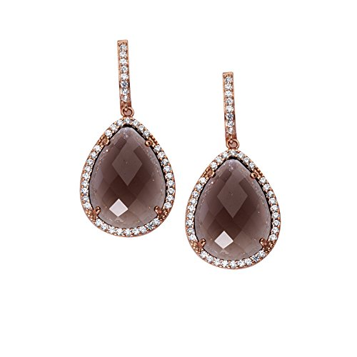 Smoky Quartz and Cubic Zirconia Earrings 14k Rose Gold-plated Sterling Silver