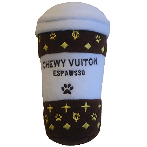 Dog Diggin Designs Nouveau Haute Coffee Station Collection | Unique Squeaky Plush Dog Toys - Baristas Needed! (Chewy Vuiton Espawsso)