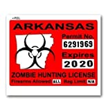 Arkansas AR Zombie Hunting License Permit Red - Biohazard Response Team - Window Bumper Locker Sticker