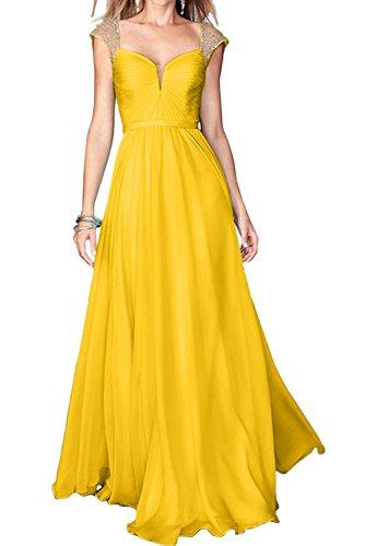 Abendkleider Damen Trager Linie Promkleider Chiffon Ivydressing Golden A Partykleider Festkleid TgUw5qp