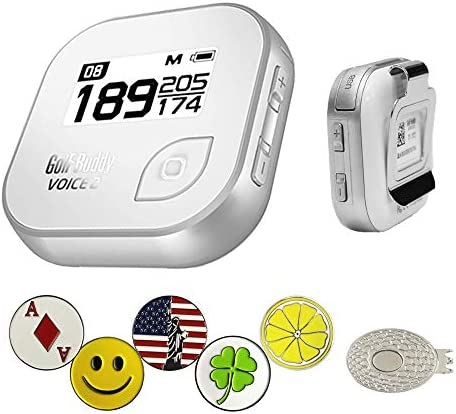 GolfBuddy Voice 2 Golf GPS Rangefinder Bundle with 5 Ball Markers and 1 Magnetic Hat Clip