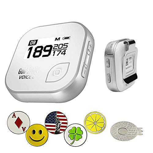 Golf Buddy Voice 2 Golf GPS/Rangefinder Bundle with 5 Ball Markers and 1 Magnetic Hat Clip ()