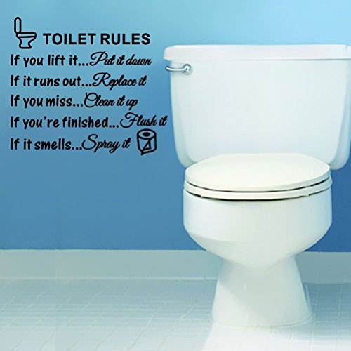 WINOMO Toilet Rules Decals Bathroom Art Wall Quote Stickers Removable Wall Decals Decoration