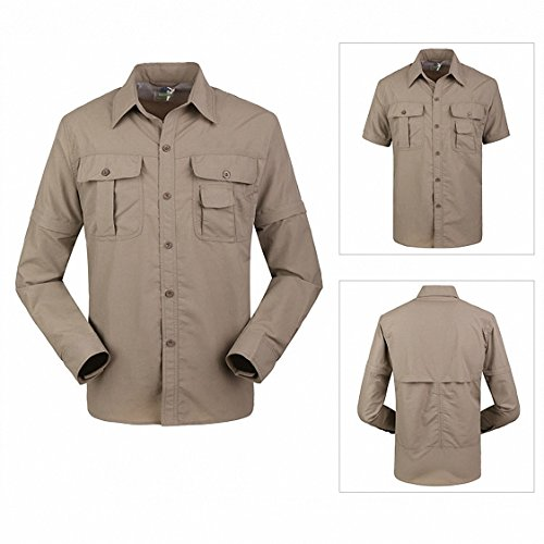 Outdoor Shirt, TSWA Men's Active Quick Dry Sun UV Protection Convertible Long Sleeve Hiking Camping Shirts