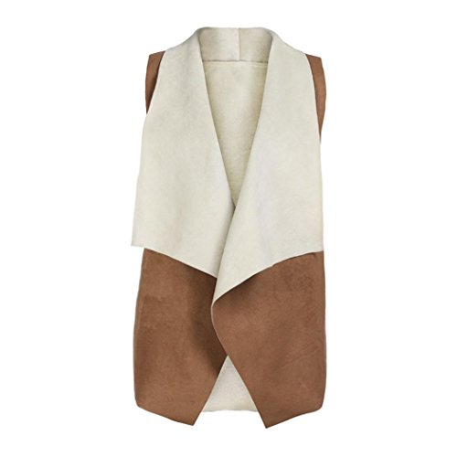 Faux Shearling Vest - Women Faux Fur Suede Sherpa Vests, Qisc Sleeveless Turn Down Collar Faux Shearling Vest Waistcoat (Khaki, S)