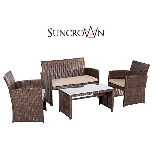 - SUNCROWN Outdoor Conversation Set 4 Piece Brown Wicker Patio Furniture Sectional Sofa Glass Top Table | Thick, Durable Cushions with Washable Covers | Porch, Backyard, Pool or Garden