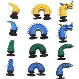 12pcs 3D Cute Dragon & Snake Shoe Charms For Jibbitz Croc Shoes & Bracelet Wristband