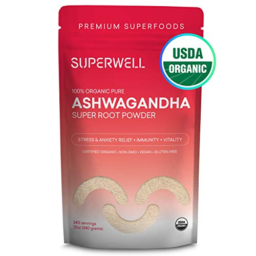 SUPERWELL Raw All Natural Ashwagandha Super Root Powder (12 Oz) | 100% USDA Premium Organic Superfood from INDIA | Improves Mood, Sleep & Energy | Lowers Stress & Anxiety + Complimentary Recipe eBook