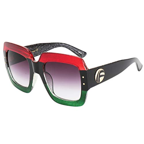 ROYAL GIRL Oversized Square Sunglasses For Women Multi Tinted Frame Brand Designer Fashion Shades, 1c5 Red and Green , Large