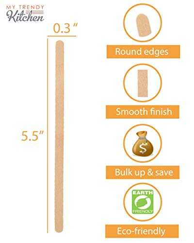 Wooden Coffee Stir Sticks 1500 Count - Eco-Friendly Splinter-Free Birch Wood - Disposable Coffee, Tea, Beverage Mixing Stirrers with Round Ends by My Trendy Kitchen (Image #2)
