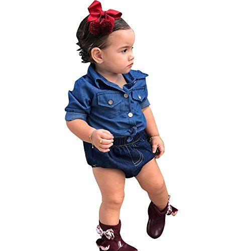 (Newborn Baby Girls 2pcs Long Sleeve Button up Denim Shirts Tops Diaper Shorts Pants Retro Clothes Set Yamally (12-18 Months, Blue))