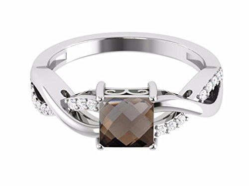 Shine jewel 925 silver square cut smoky quartz twisted ring ()