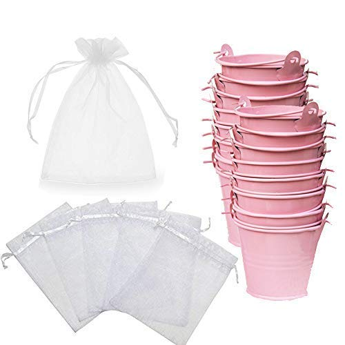 (Amajoy 30 Pack Mini Metal Bucket Tin with Sheer Bag Candy Box Buckets Souvenirs Gift Pails for Bridal Wedding Party Baby Showers,Pink)