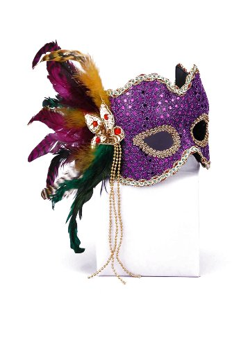 Forum Novelties Women's Karneval Style Sequin Half Mask with Feathers, Gold/Purple, One Size
