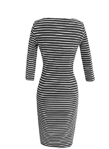 Howme Femmes Rayures Vogue 3/4 Style Manches Robes De Bureau Crewneck Noir