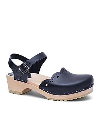 Sandgrens Swedish Wooden Low Heel Clog Sandals for Women | Milan
