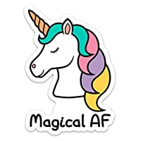 """Unicorn Sticker Decal Vinyl Magical AF 4"""" x 2.8"""" Funny for Laptop Cell Phone Water Bottle"""