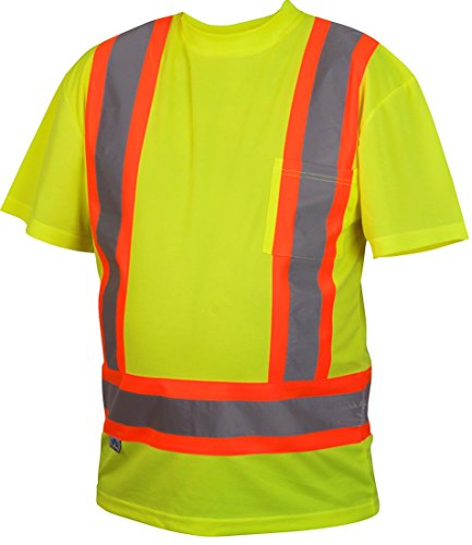 Pyramex RCTS2110X2 Hi-Vis Lime T-Shirt with Contrasting Refl