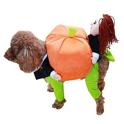 D-ModernPet Dog Costume - Funny Pet Costume Pumpkin Cosplay Suit for Cats Halloween Christmas Clothes for Dogs Party Dressing Up Dog Clothing Cat Apparel -