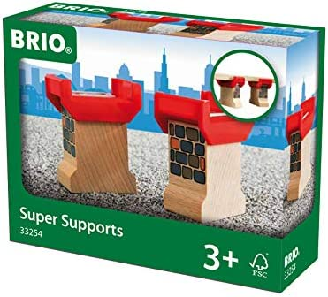 Brio World 33254 - Super Supports - 2 Piece Wooden Railway Set Train Accessory for Kids Ages 3 and Up
