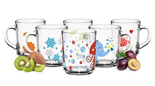 6 Tier-Motiv Becher Tassen 250ml Teegläser Kindergläser Trinkgläser Saftgläser