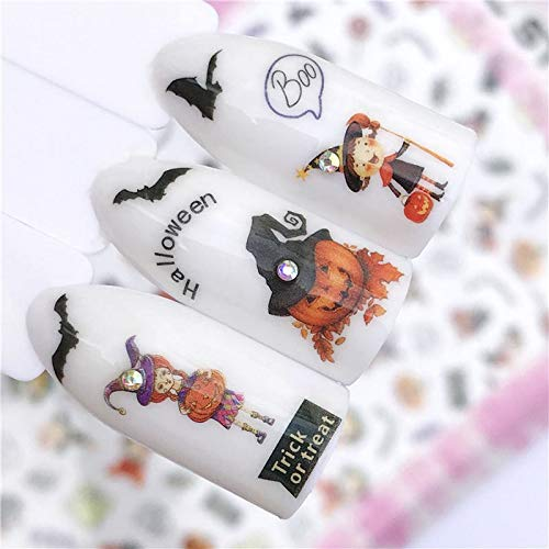 1 piece FWC 1 PC New Arrivial Halloween Pumpkin Series 3D Sticker Tips Shiny Decoration DIY Adhesive Nail Art -