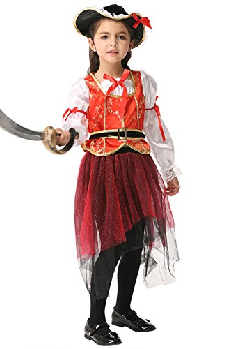 WHOLEWO Girls Halloween Costume Performance Dress Pirate Cosplay (ek021-Medium, (Girls Pirate Outfits)