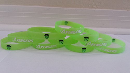 GLOW IN THE DARK - HULK Inspired Kids Bracelets and Birthday Party Favors (10 pack) -