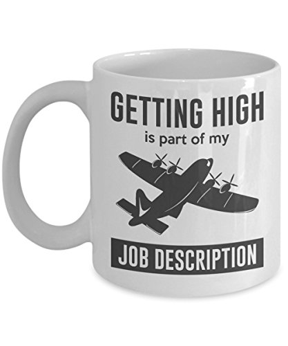 Jyotis - Getting High Is Part Of My Job Description Coffee Mug, Pilot Coffee Mug Gift, Airplane Mug, Co-Pilot Gift, Funny Pilot Mug, Flying Coffee Mug ()