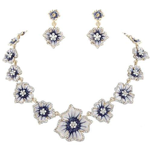 (EVER FAITH Women's Austrian Crystal Enamel Hibiscus Necklace Earrings Set Purple)
