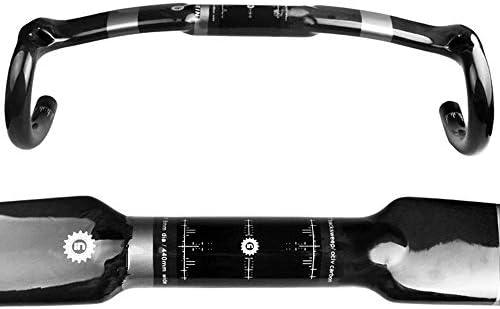 自転車のハンドルバー カーボンファイバー自転車のハンドルバーは、ハンドルバーを非常に軽量で強力なマット/滑らかな湾曲したロッド31.8mmの壊れた風ハンドルバー400/420 / 440mm UD / 3Kに下げました 自転車フラットハンドル (Color : Matte, Size : 420mm)
