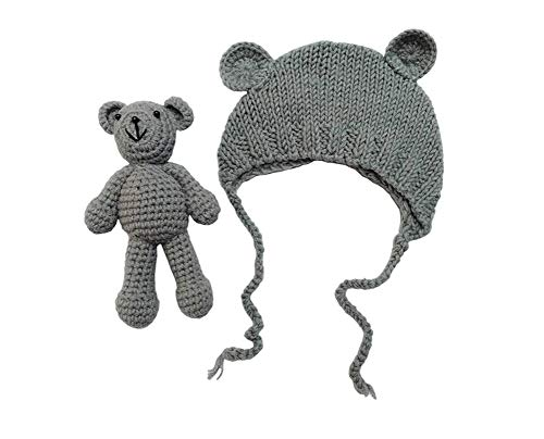 Lppgrace Newborn Baby Girls Boys Bear Hat Beanie with Bear Dolls Photography Accessories (Gray)