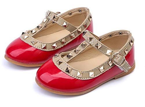 Girls Rivet Flat Shoes Leather Princess Shoes Girls Dress Shoes Baby Girls T-Strap Rivet Studded (11 M US Little Kid, Red) ()